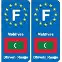 F Europe Maldives autocollant plaque