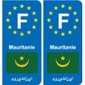 F Europe Mauritanie Mauritania autocollant plaque