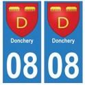 08 Donchery autocollant plaque ville département