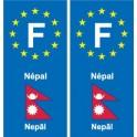 F Europe Népal Nepal autocollant plaque