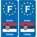 F Europe Serbie Serbia autocollant plaque