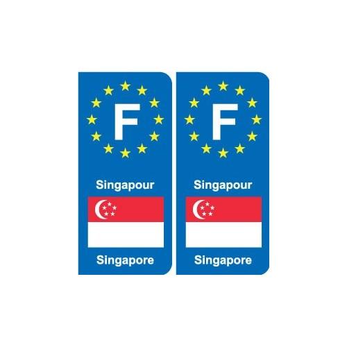 F Europe Singapour Singapore autocollant plaque