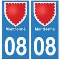 08 Monthermé autocollant plaque ville département