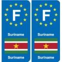 F Europe Suriname autocollant plaque