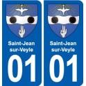 01 Saint-Jean-sur-Veyle coat of arms, city sticker, plate sticker