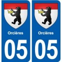 05 Orcières coat of arms, city sticker, plate sticker