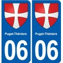 06 Puget-Théniers coat of arms, city sticker, plate sticker