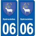 06 Spéracèdes blason ville autocollant plaque stickers