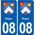 08 Blagny coat of arms, city sticker, plate sticker