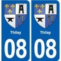 08 Thilay logo ville autocollant plaque immatriculation département