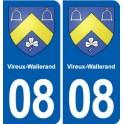08 Vireux-Wallerand blason ville autocollant plaque stickers