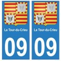 09 La Tour-du-Crieu blason ariège autocollant plaque