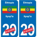 Éthiopie ኢትዮጵያ sticker numéro département au choix autocollant plaque immatriculation auto