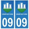 09 Lézat-sur-Lèze blason ville autocollant plaque