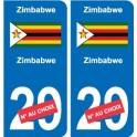 Zimbabwe Zimbabwe sticker number department choice sticker plaque immatriculation auto