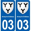 03 Ainay-le-Château coat of arms, city sticker, plate sticker