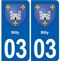 03 Billy blason ville autocollant plaque stickers