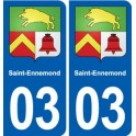 03 Saint-Ennemond coat of arms, city sticker, plate sticker