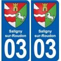 03 Saligny-sur-Roudon coat of arms, city sticker, plate sticker