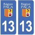 13 Bouches du Rhône autocollant plaque immatriculation département PACA
