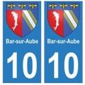 10 Bar-sur-Aube ville autocollant plaque