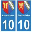10 Bar-sur-Seine autocollant plaque