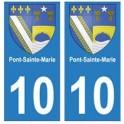 10 Pont-Sainte-Marie ville autocollant plaque