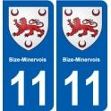 11 Bize-Minervois coat of arms, city sticker, plate sticker