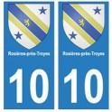 10 Rosière-près-Troyes ville autocollant plaque