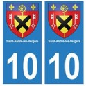 10 Saint-André-les-Vergers ville autocollant plaque
