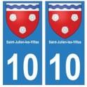 10 Saint-Julien-les-Villas ville autocollant plaque