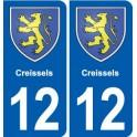 12 Creissels blason ville autocollant plaque sticker