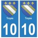 10 Troyes ville autocollant plaque