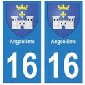 16 Angoulême ville autocollant plaque