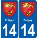 14 Potigny coat of arms, city sticker, plate sticker