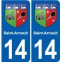 14 Saint-Arnoult coat of arms, city sticker, plate sticker