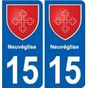 15 Neuvéglise coat of arms, city sticker, plate sticker