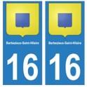 16 Barbezieux-Saint-Hilaire ville autocollant plaque