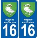 16 Magnac-sur-Touvre blason ville autocollant plaque sticker