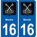 16 Mansle coat of arms, city sticker, plate sticker