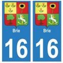 16 Brie ville autocollant plaque