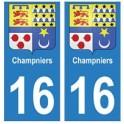16 Champniers ville autocollant plaque