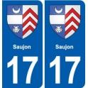 17 Saujon blason ville autocollant plaque sticker