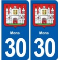 30 Mons coat of arms, city sticker, plate sticker