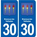 30 Branoux-les-Taillades coat of arms, city sticker, plate sticker