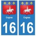 16 Cognac ville autocollant plaque