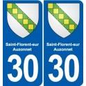 30 Saint-Florent-sur-Auzonnet coat of arms, city sticker, plate sticker