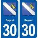 30 Bagard blason ville autocollant plaque stickers
