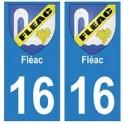 16 Fléac ville autocollant plaque