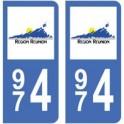 974 La Réunion autocollant plaque